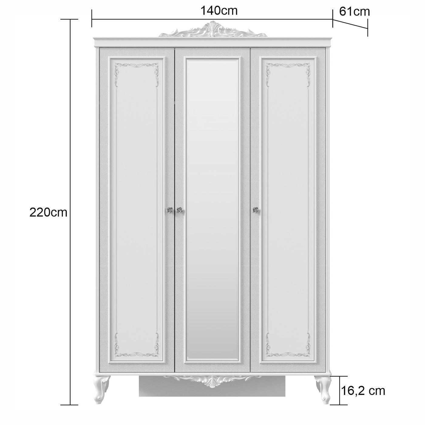 Barock Kleiderschrank Marquisa 3-Türig inklusive Spiegel