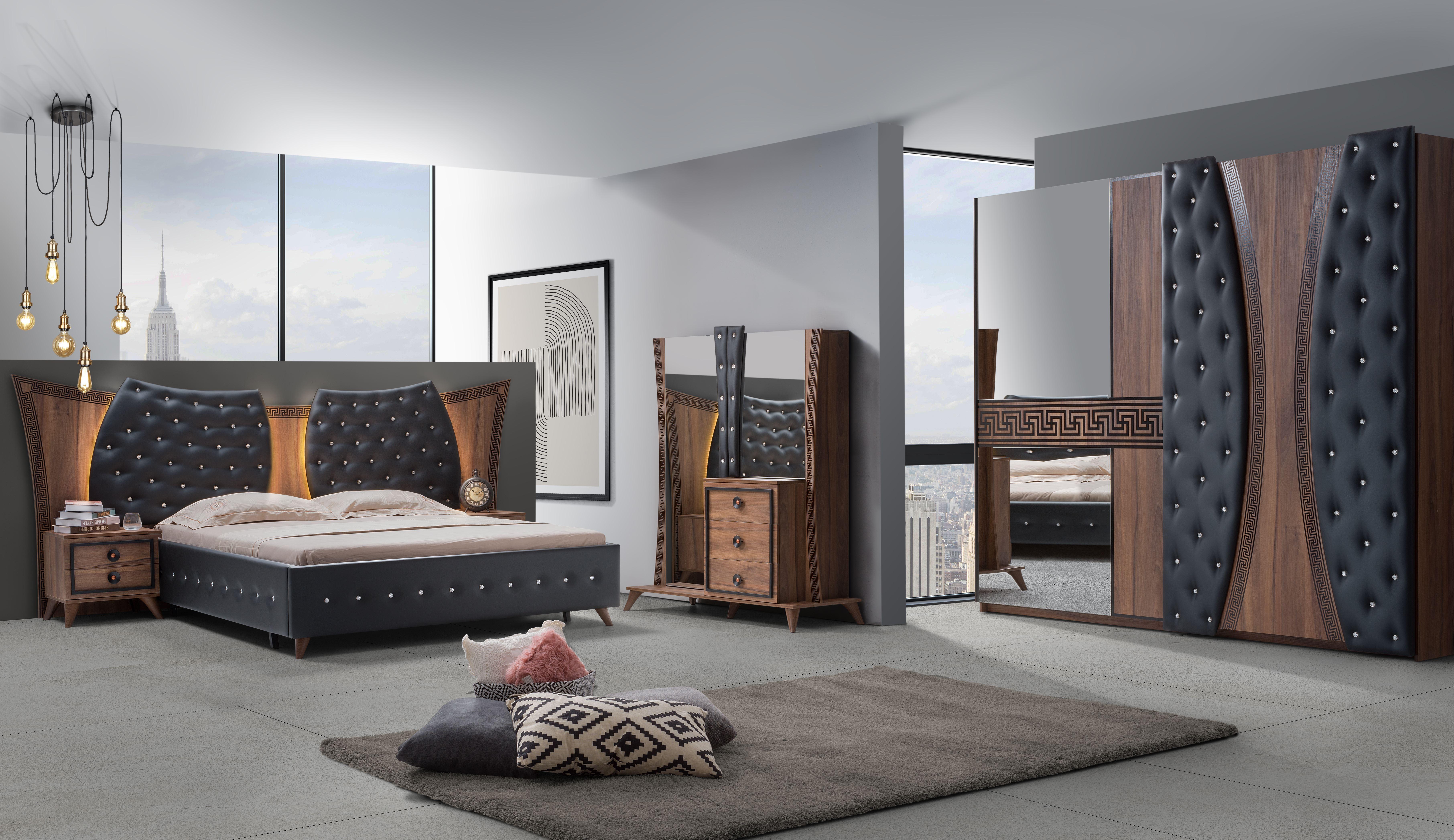 Barock Schlafzimmer Delia in Nussfarben 5-Teilig