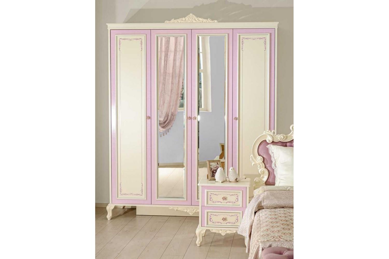 Barock Kleiderschrank Marquisa 4-Türig inkl. Spiegeltüren