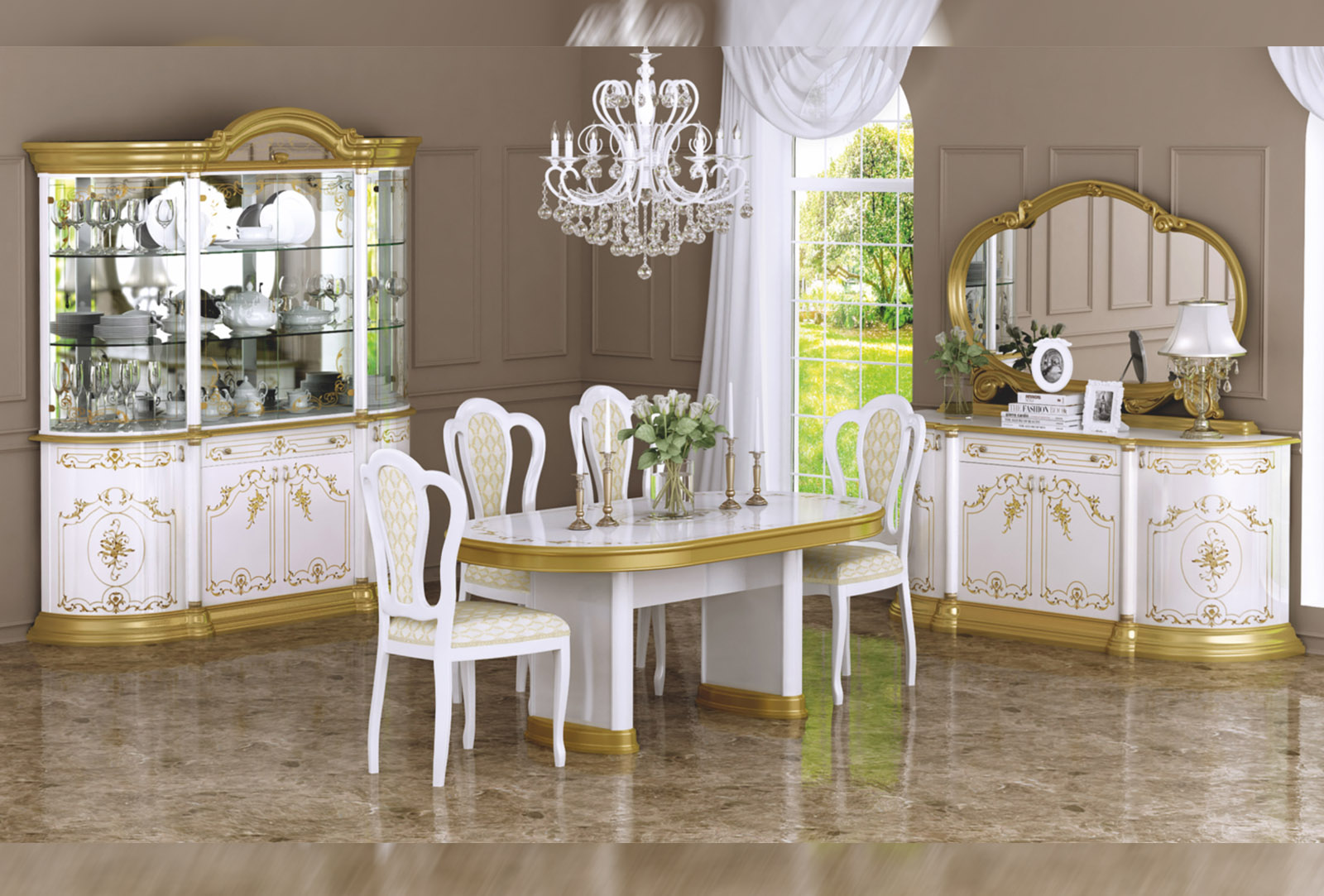 Barock Esszimmer Remo in Weiss/Gold 8-Teilig