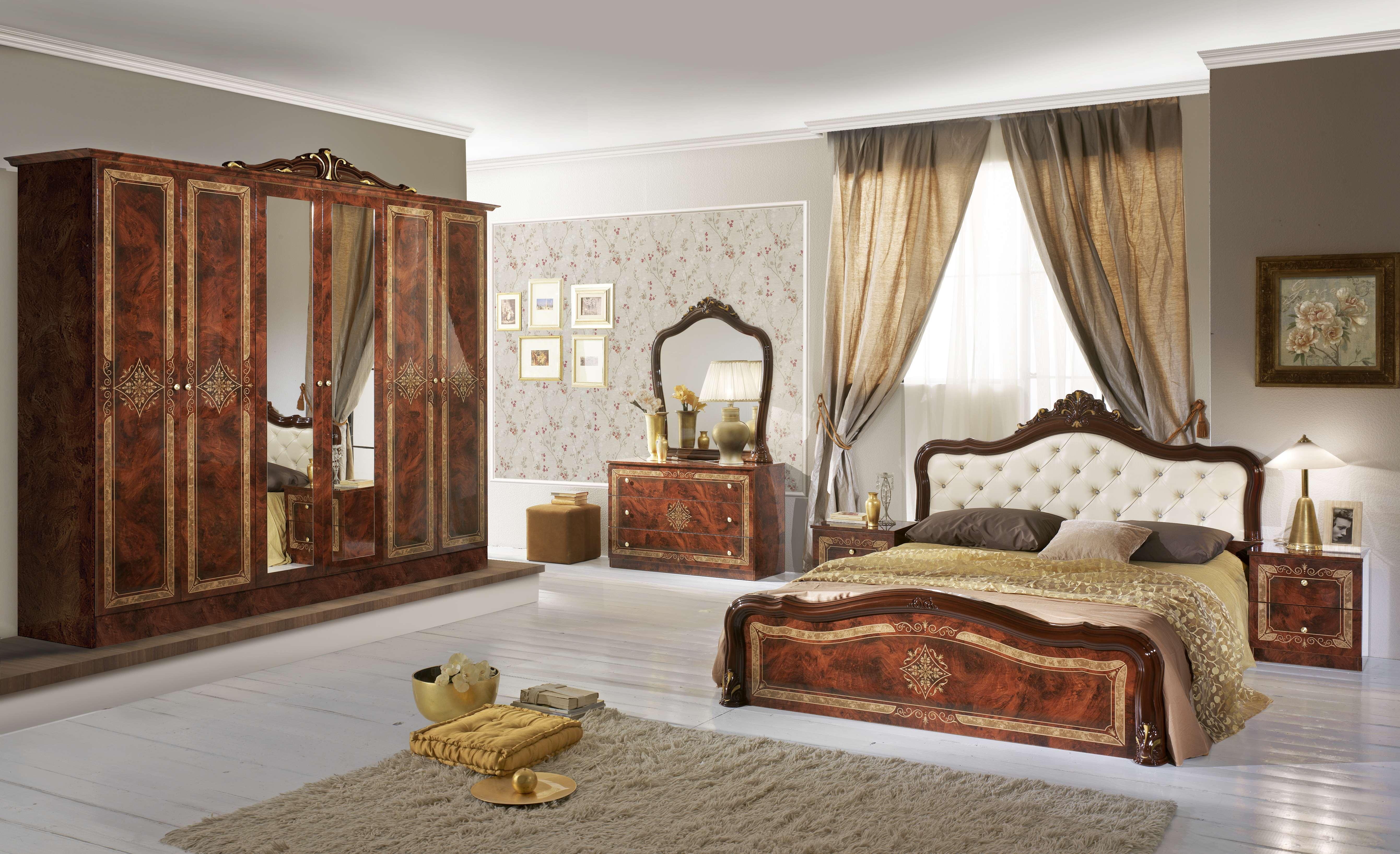 Schlafzimmer Set Livia in Walnuss 4-Teilig