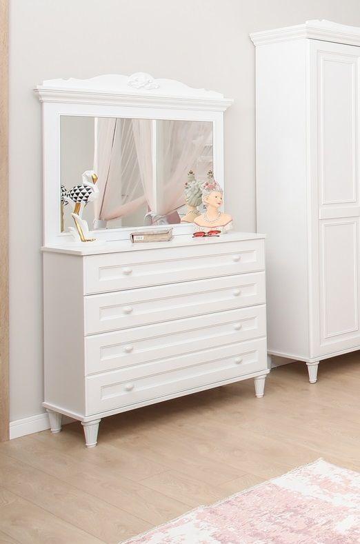 Wäschekommode Lory mit Spiegel und 4 Schubladen in Weiss