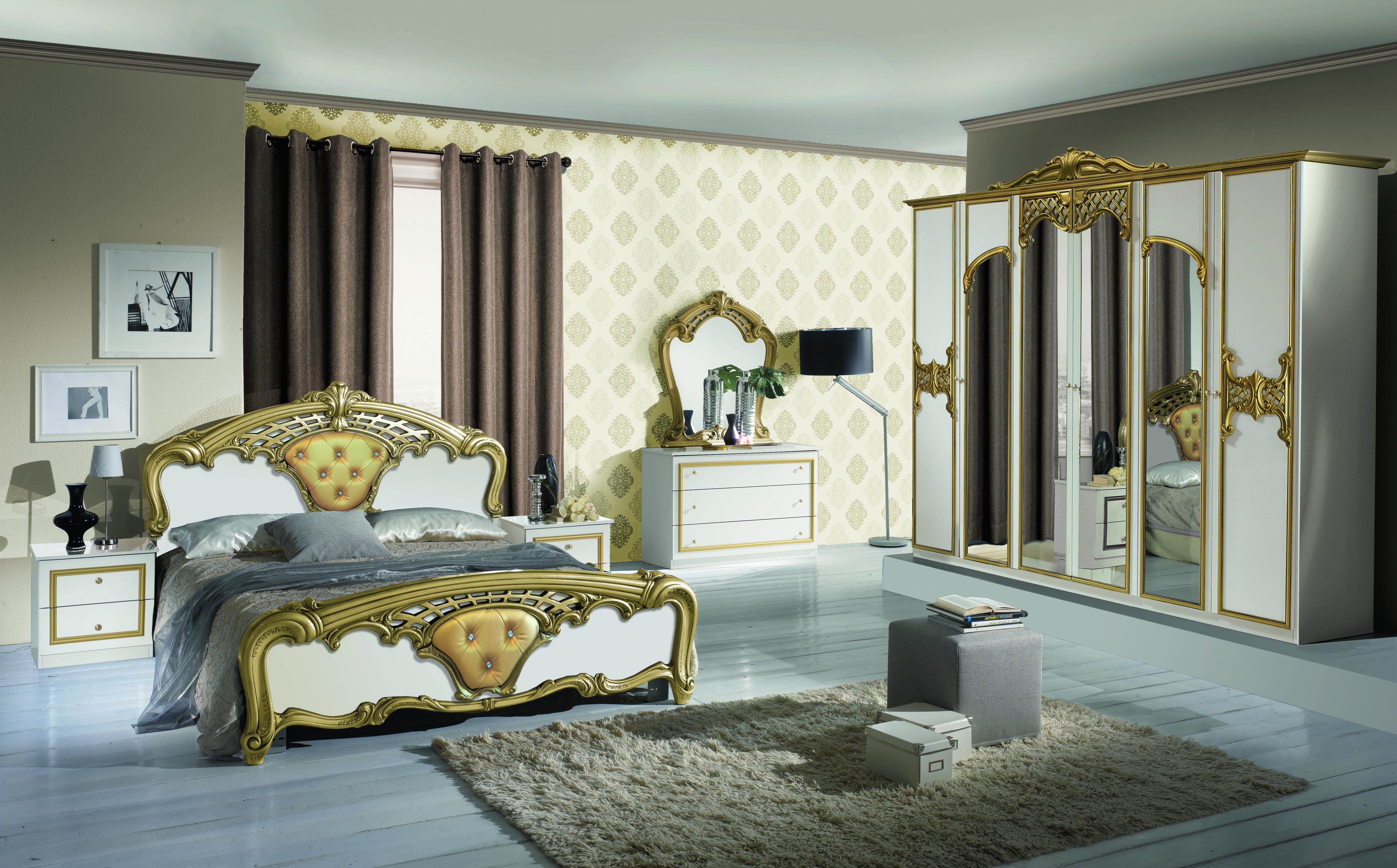 Barock Schlafzimmer Set Elena in Weiss/Gold 4-Teilig