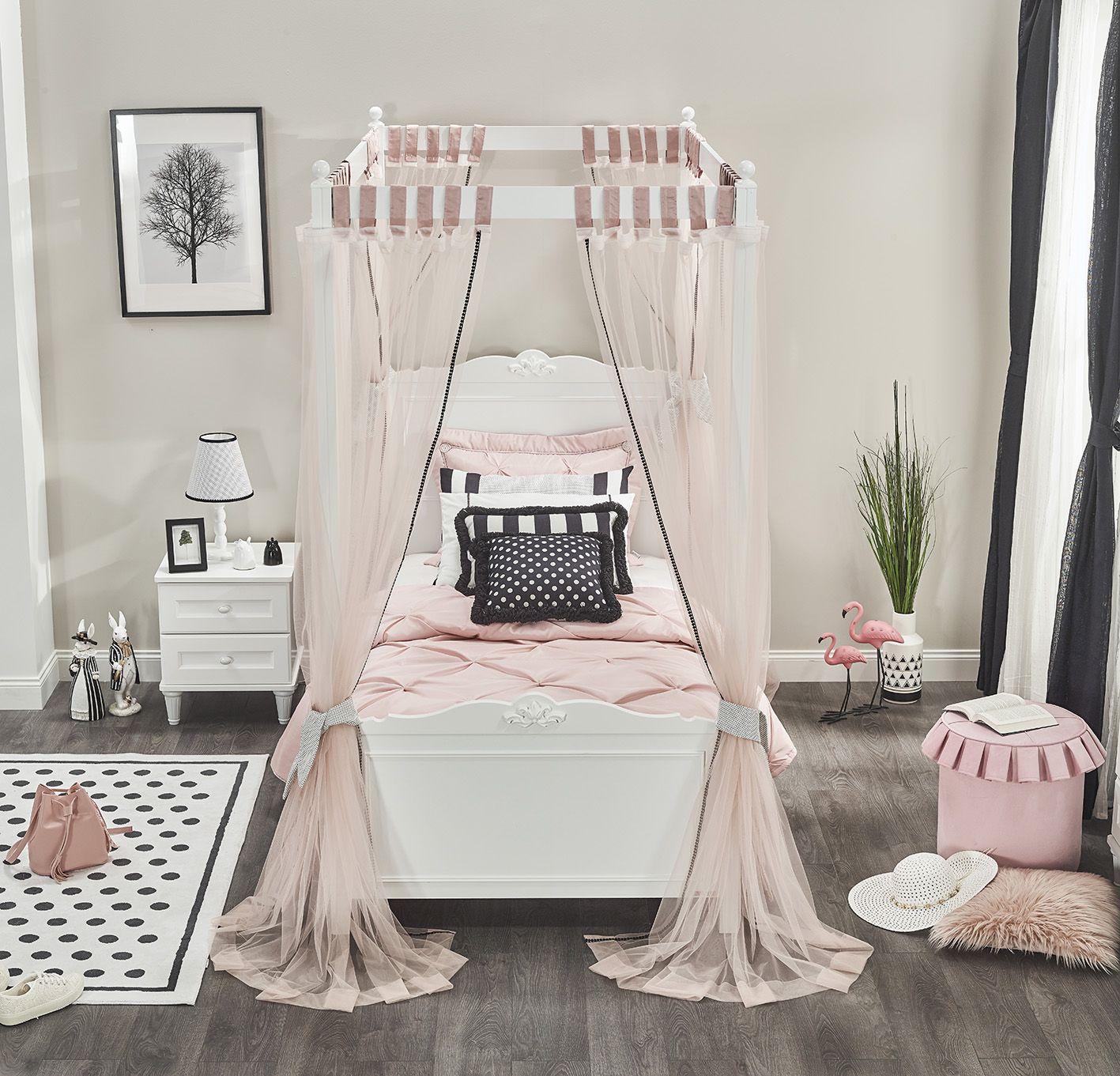 Himmelaufsatz Lory für Einzelbett in Weiss verschiedene Größen