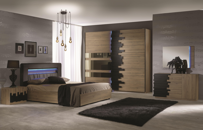 Schlafzimmer Komplett Mael inkl. Schwebetürenschrank 6-Teilig