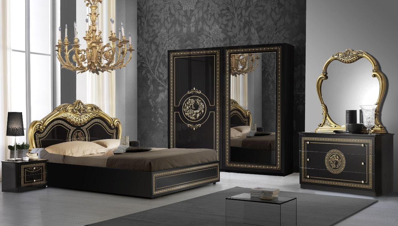 Barock Schlafzimmer Nero in Schwarz/Gold 6-Teilig
