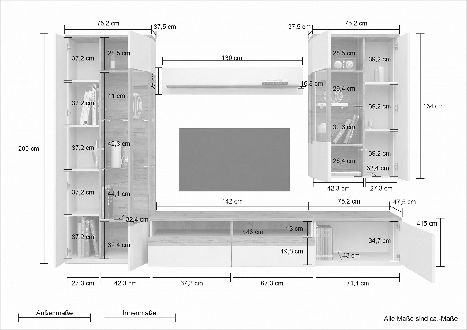 Wohnwand Toskana Hochglanz Hellbraun HG/Eiche Nachbildung 5-Teilig