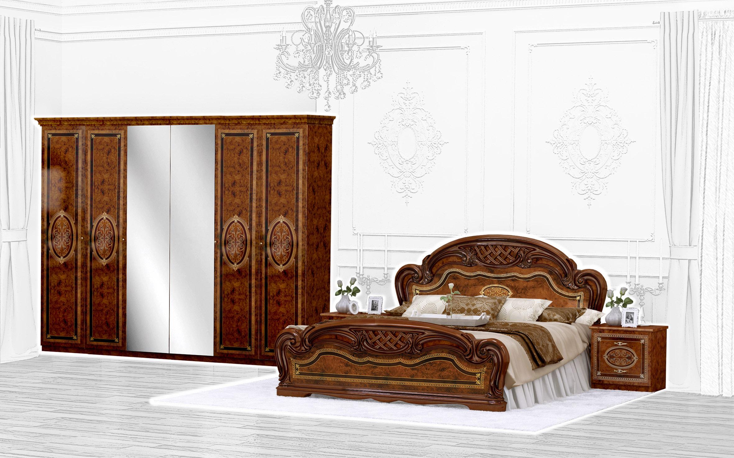 Barock Schlafzimmer Set Lara 1 in Walnuss 4-Teilig