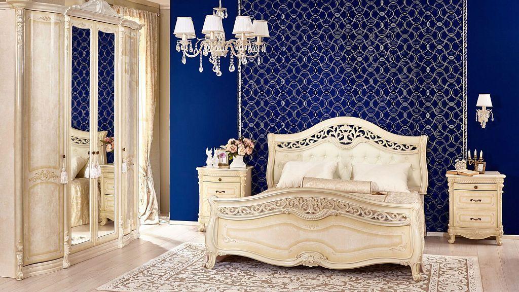 Barock Schlafzimmer Mirabella in Beige 6-Teilig