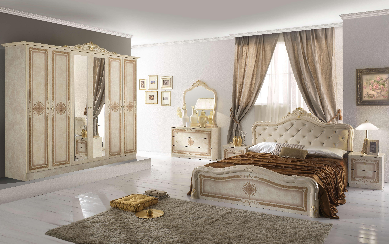 Barock Schlafzimmer Livia in Beige 6-Teilig