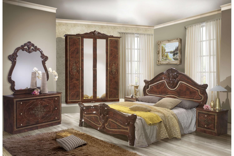 Barock Schlafzimmer Alba in Walnuss 6-Teilig