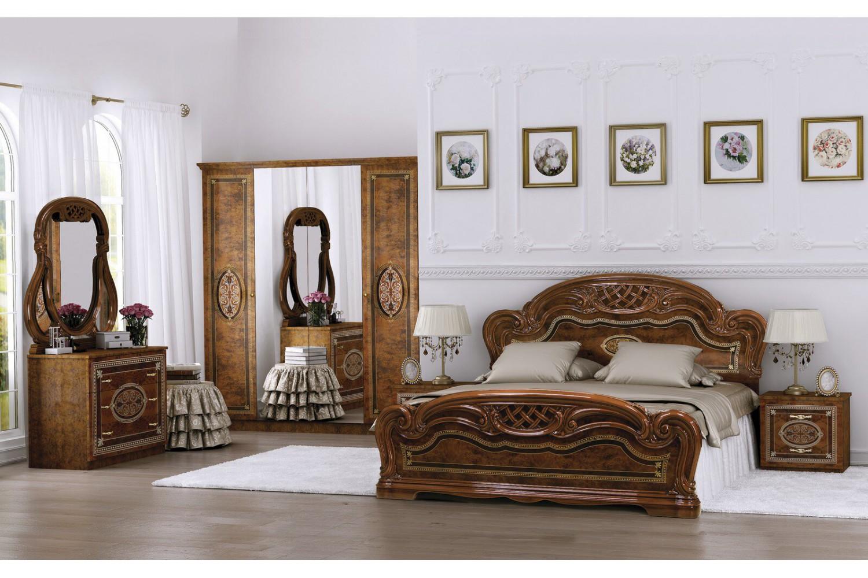 Barock Schlafzimmer Lara in Walnuss 6-Teilig