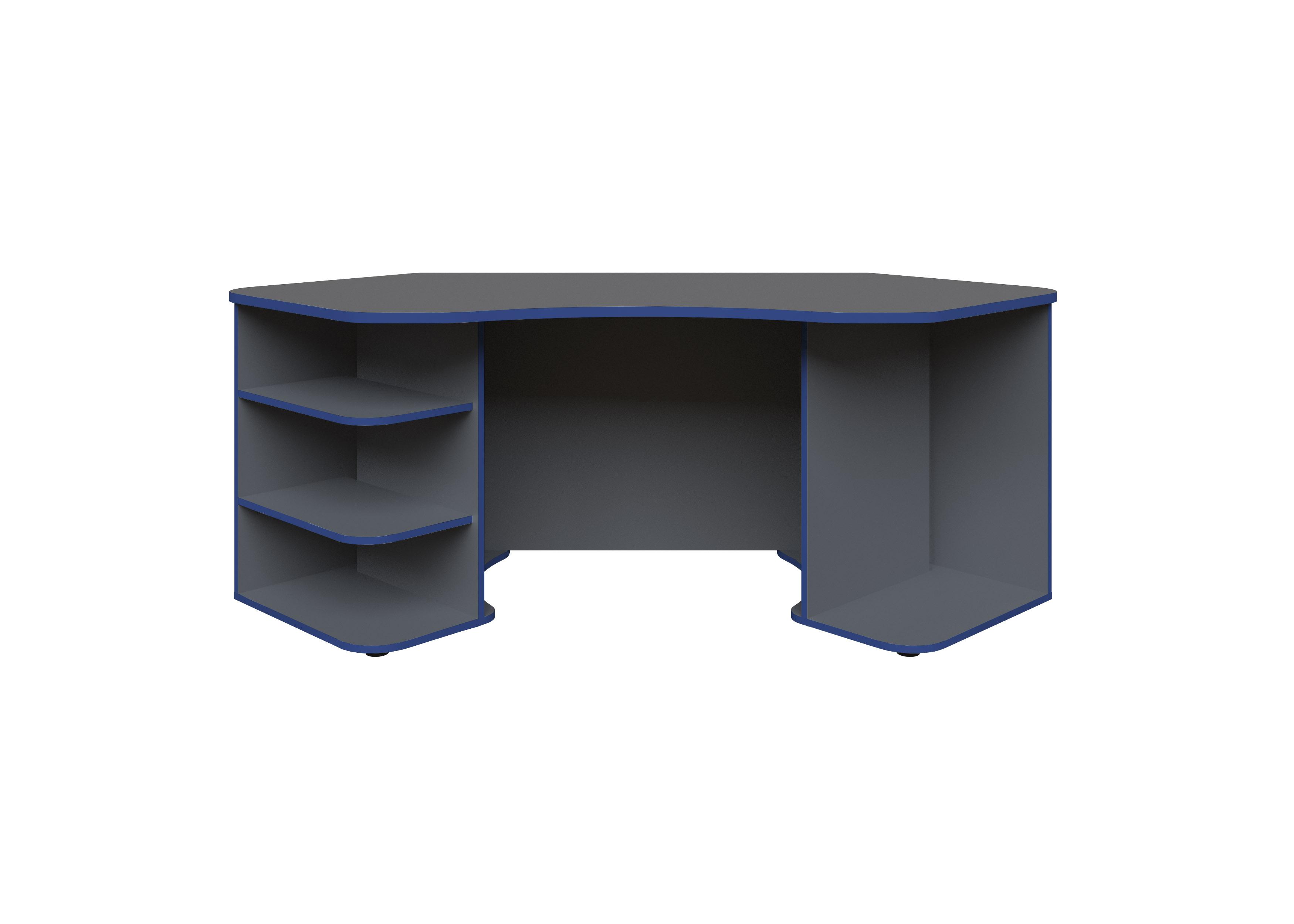 Gamingtisch Xeno, in Anthrazit/Blau für mehrere Monitore
