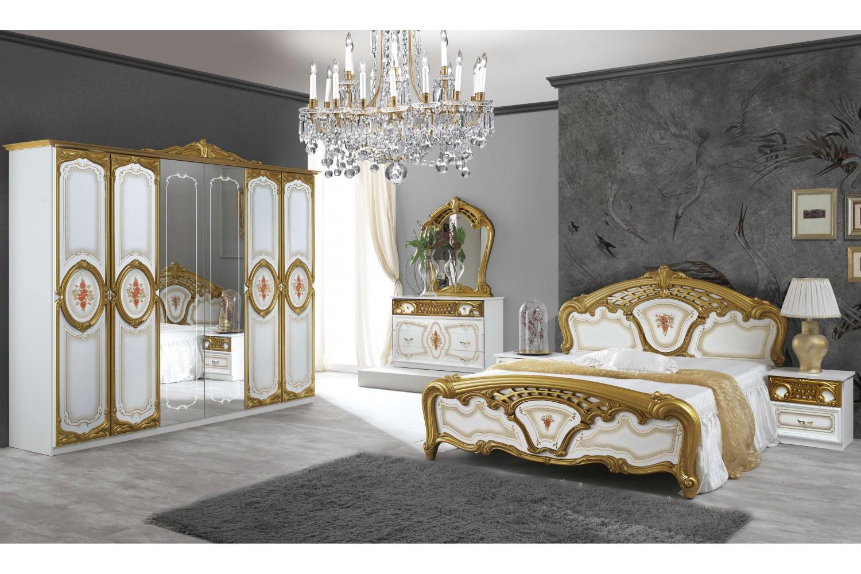Barock Schlafzimmer Samanta in Weiss/Gold 6-Teilig
